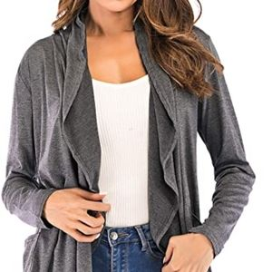 Grey Open Front Long Sleeve Knit Cardigan Size L